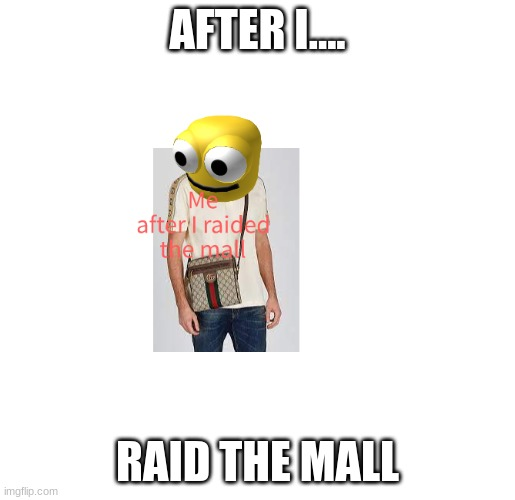 After I raid the mall |  AFTER I.... RAID THE MALL | image tagged in gucci | made w/ Imgflip meme maker