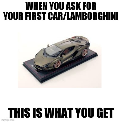 first car (model) |  WHEN YOU ASK FOR YOUR FIRST CAR/LAMBORGHINI; THIS IS WHAT YOU GET | image tagged in meme | made w/ Imgflip meme maker