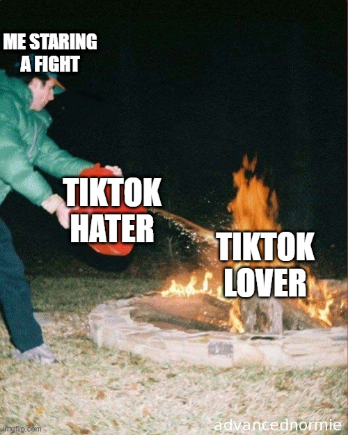 pouring gas on fire |  ME STARING A FIGHT; TIKTOK HATER; TIKTOK LOVER | image tagged in pouring gas on fire | made w/ Imgflip meme maker