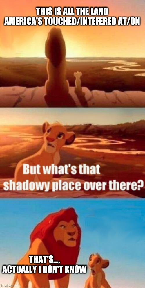 Actually...I don't know |  THIS IS ALL THE LAND AMERICA'S TOUCHED/INTEFERED AT/ON; THAT'S..., ACTUALLY I DON'T KNOW | image tagged in memes,simba shadowy place | made w/ Imgflip meme maker