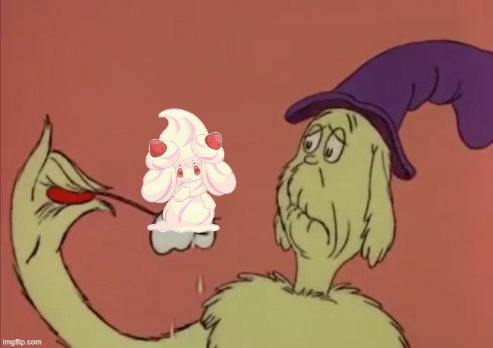 What happens if he eats Alcremie??? | image tagged in pokemon,crossover,green eggs and ham | made w/ Imgflip meme maker