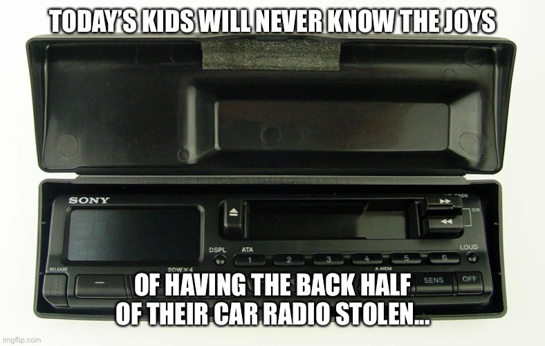 Car Stereo |  TODAY'S KIDS WILL NEVER KNOW THE JOYS; OF HAVING THE BACK HALF OF THEIR CAR RADIO STOLEN... | image tagged in car,stereo,radio,tapes,cars,grand theft auto | made w/ Imgflip meme maker