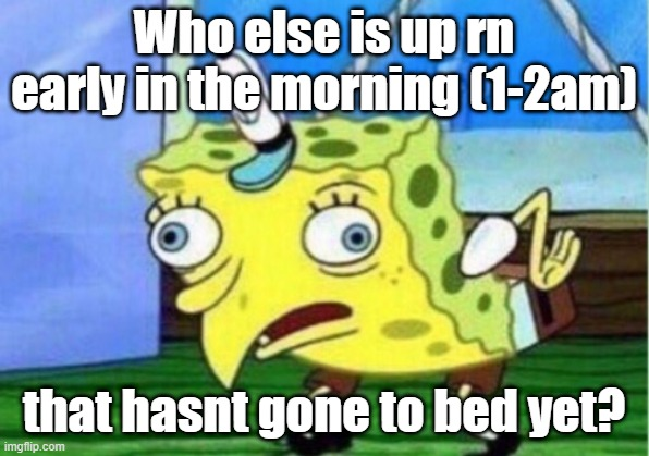 Anyone else? |  Who else is up rn early in the morning (1-2am); that hasnt gone to bed yet? | image tagged in memes,mocking spongebob | made w/ Imgflip meme maker
