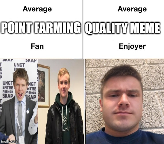 Average point farmer vs. Average quality meme enjoyer |  QUALITY MEME; POINT FARMING | image tagged in funny,relatable | made w/ Imgflip meme maker
