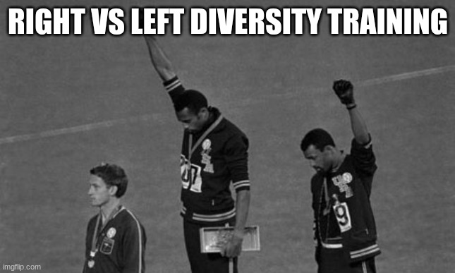 diversity training win |  RIGHT VS LEFT DIVERSITY TRAINING | image tagged in black power,diversity training,no white people were hurt by this meme,directional power,right vs left,why is white power racist | made w/ Imgflip meme maker