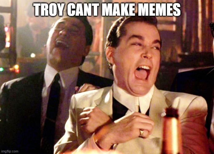 Good Fellas Hilarious Meme |  TROY CANT MAKE MEMES | image tagged in memes,good fellas hilarious | made w/ Imgflip meme maker