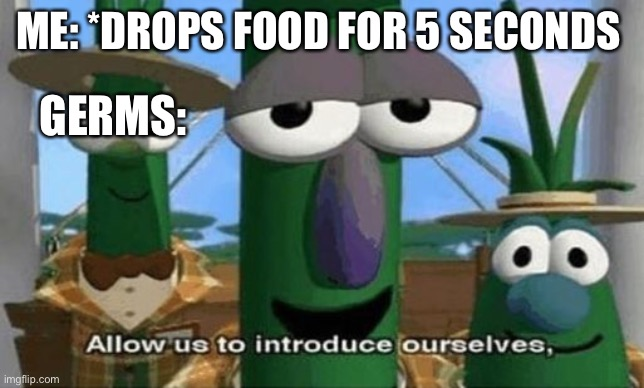 Allow Us to Introduce Ourselves |  ME: *DROPS FOOD FOR 5 SECONDS; GERMS: | image tagged in allow us to introduce ourselves | made w/ Imgflip meme maker