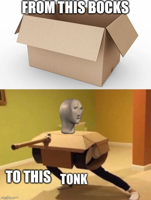 Meme mon |  FROM THIS BOCKS; TO THIS | image tagged in empty cardboard box,tonk | made w/ Imgflip meme maker