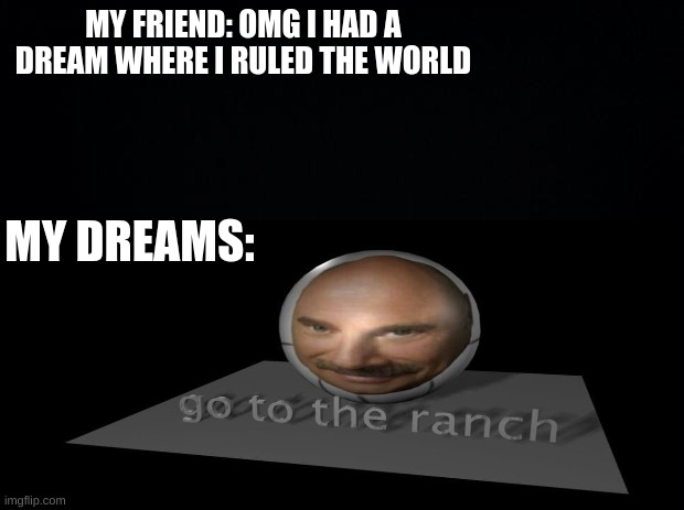 go to the ranch |  MY FRIEND: OMG I HAD A DREAM WHERE I RULED THE WORLD; MY DREAMS: | image tagged in why | made w/ Imgflip meme maker
