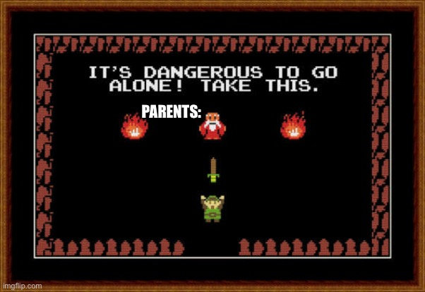 its dangerous to go alone take this | PARENTS: | image tagged in its dangerous to go alone take this | made w/ Imgflip meme maker