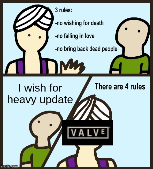 sad |  I wish for heavy update | image tagged in genie rules meme | made w/ Imgflip meme maker