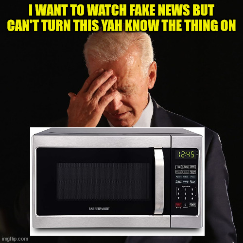 biden forgot |  I WANT TO WATCH FAKE NEWS BUT CAN'T TURN THIS YAH KNOW THE THING ON | image tagged in biden forgot | made w/ Imgflip meme maker