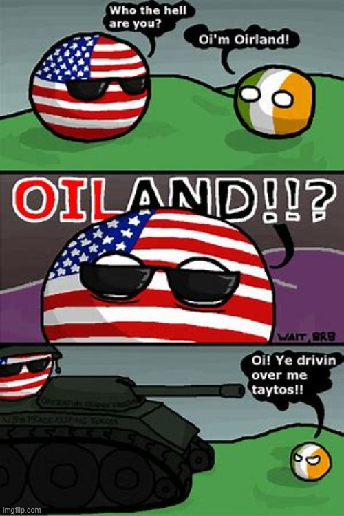 Oiland | image tagged in ireland,usaball | made w/ Imgflip meme maker