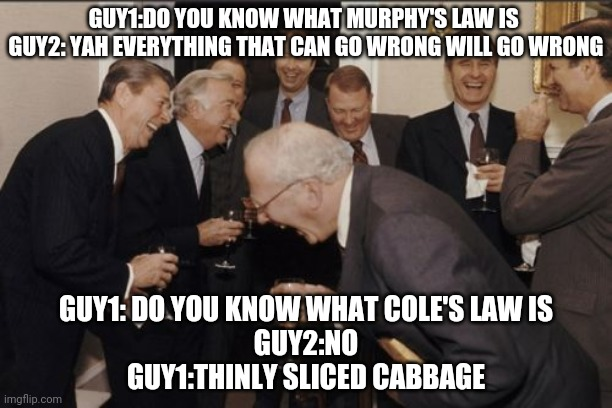 It will go wrong |  GUY1:DO YOU KNOW WHAT MURPHY'S LAW IS  GUY2: YAH EVERYTHING THAT CAN GO WRONG WILL GO WRONG; GUY1: DO YOU KNOW WHAT COLE'S LAW IS GUY2:NO GUY1:THINLY SLICED CABBAGE | image tagged in memes,laughing men in suits | made w/ Imgflip meme maker