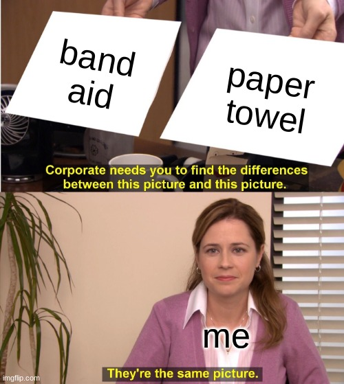 They're The Same Picture Meme |  band aid; paper towel; me | image tagged in memes,they're the same picture | made w/ Imgflip meme maker
