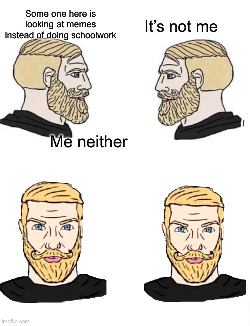 Hm... |  Some one here is looking at memes instead of doing schoolwork; It's not me; Me neither | image tagged in chad | made w/ Imgflip meme maker