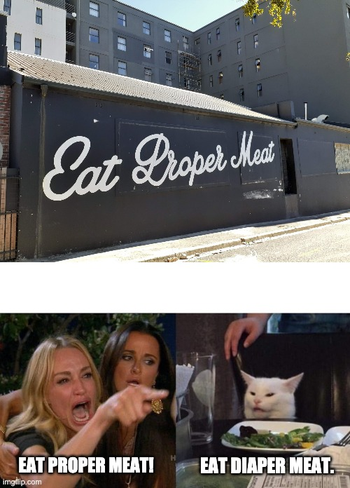 font fail |  EAT DIAPER MEAT. EAT PROPER MEAT! | image tagged in eat diaper meat,memes,woman yelling at cat,cursive,fonts,font | made w/ Imgflip meme maker