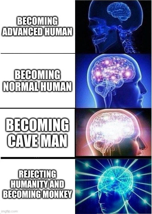 NO HUMON ONLY MONK |  BECOMING ADVANCED HUMAN; BECOMING NORMAL HUMAN; BECOMING CAVE MAN; REJECTING HUMANITY AND BECOMING MONKEY | image tagged in memes,expanding brain | made w/ Imgflip meme maker