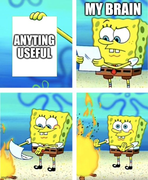 Seriously though... |  MY BRAIN; ANYTING USEFUL | image tagged in spongebob burning paper,brain,1 iq | made w/ Imgflip meme maker