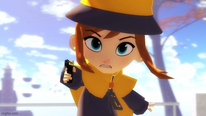 image tagged in hat kid with a gun | made w/ Imgflip meme maker