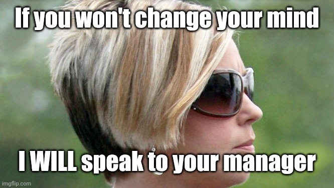 Karen | If you won't change your mind I WILL speak to your manager | image tagged in karen | made w/ Imgflip meme maker