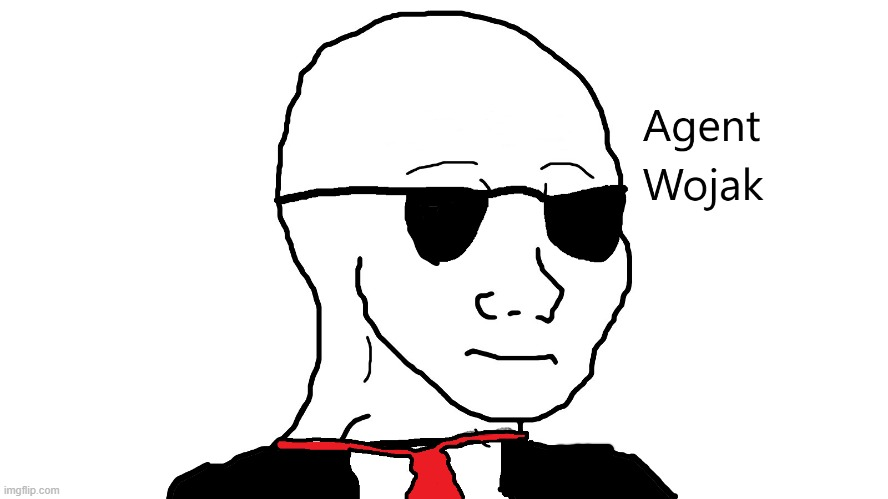 Agent Wojak | image tagged in wojak | made w/ Imgflip meme maker