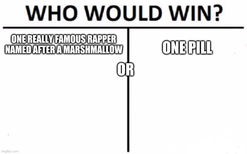 Who Would Win? Meme |  ONE REALLY FAMOUS RAPPER NAMED AFTER A MARSHMALLOW; ONE PILL; OR | image tagged in memes,who would win | made w/ Imgflip meme maker