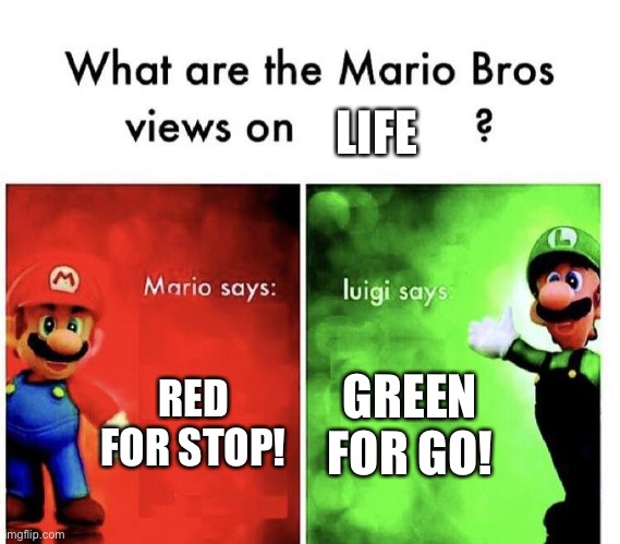 Wow this got dark |  LIFE; RED FOR STOP! GREEN FOR GO! | image tagged in mario bros views,life,this got dark | made w/ Imgflip meme maker