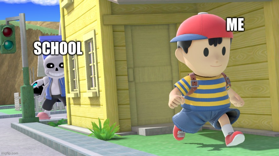 My first earthbound meme! Been a while since I been into series. |  SCHOOL; ME | image tagged in heya ness,earthbound,undertale,sans undertale | made w/ Imgflip meme maker