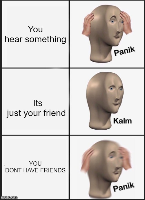 Panik Kalm Panik |  You hear something; Its just your friend; YOU DONT HAVE FRIENDS | image tagged in memes,panik kalm panik | made w/ Imgflip meme maker