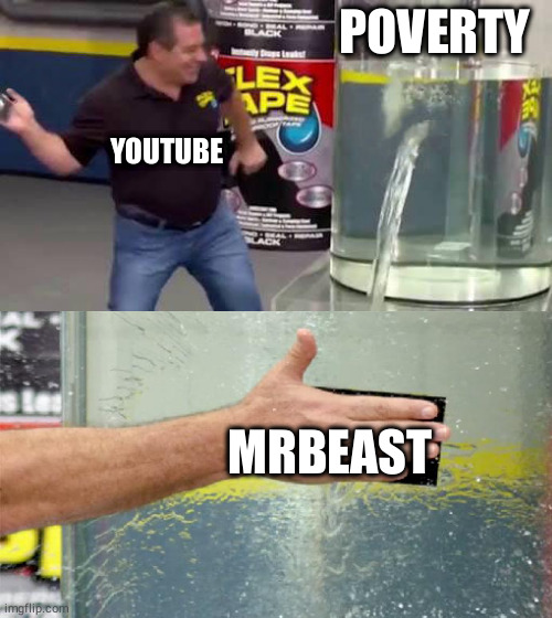 Flex Tape |  POVERTY; YOUTUBE; MRBEAST | image tagged in flex tape,funny,memes,mrbeast | made w/ Imgflip meme maker
