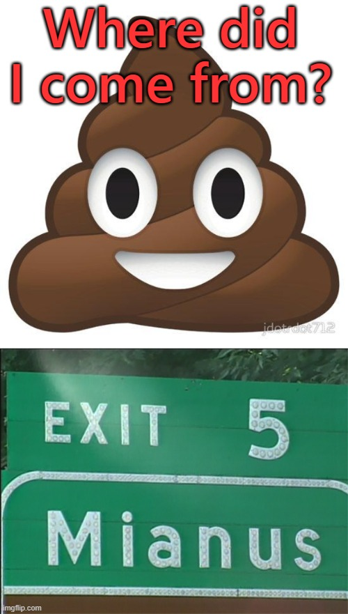 Where did I come from? | image tagged in poop,funny signs | made w/ Imgflip meme maker