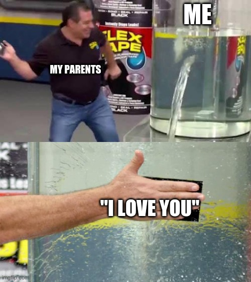 "Flex Tape |  ME; MY PARENTS; ""I LOVE YOU"" 