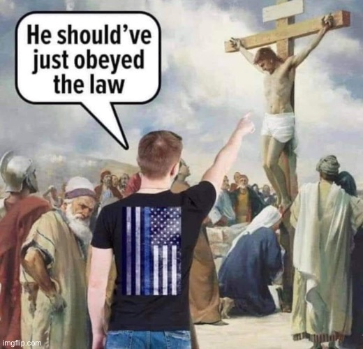 #BlueLivesMatter is hardly a Christian outlook on life. | image tagged in blue lives matter jesus | made w/ Imgflip meme maker