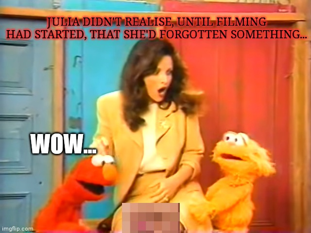 Lost sesame street episode |  JULIA DIDN'T REALISE, UNTIL FILMING HAD STARTED, THAT SHE'D FORGOTTEN SOMETHING... WOW... | image tagged in sesame street,julia louis dreyfus,unneeded censorship,but why why would you do that,where are my pants | made w/ Imgflip meme maker