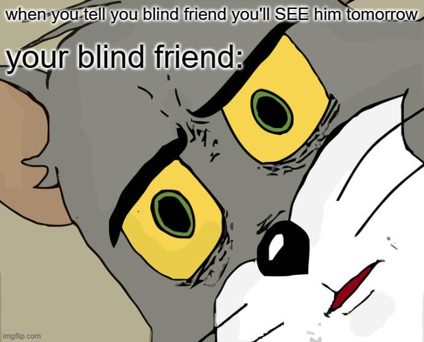 Unsettled Tom Meme |  when you tell you blind friend you'll SEE him tomorrow; your blind friend: | image tagged in memes,unsettled tom | made w/ Imgflip meme maker