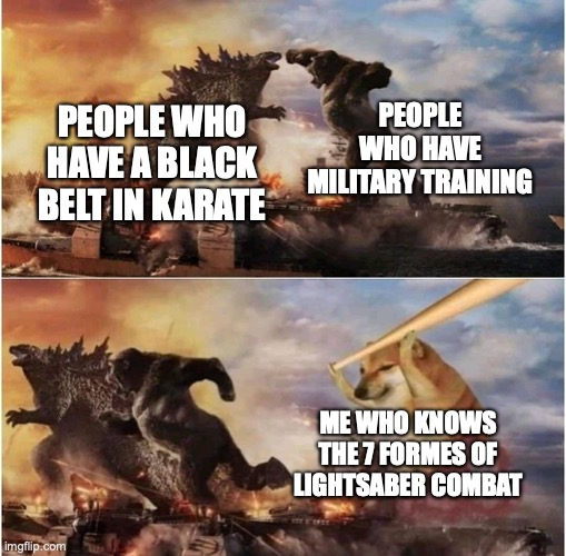 Kong Godzilla Doge |  PEOPLE WHO HAVE MILITARY TRAINING; PEOPLE WHO HAVE A BLACK BELT IN KARATE; ME WHO KNOWS THE 7 FORMES OF LIGHTSABER COMBAT | image tagged in kong godzilla doge | made w/ Imgflip meme maker