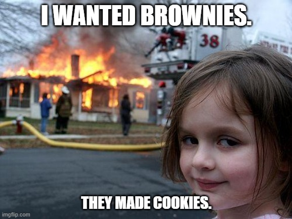 Disaster Girl |  I WANTED BROWNIES. THEY MADE COOKIES. | image tagged in memes,disaster girl | made w/ Imgflip meme maker