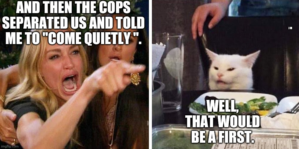 "Smudge the cat |  AND THEN THE COPS SEPARATED US AND TOLD ME TO ""COME QUIETLY "". J M; WELL, THAT WOULD BE A FIRST. 