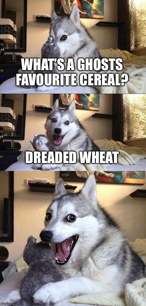 What's a ghost's favourite cereal? |  WHAT'S A GHOSTS FAVOURITE CEREAL? DREADED WHEAT | image tagged in memes,bad pun dog | made w/ Imgflip meme maker