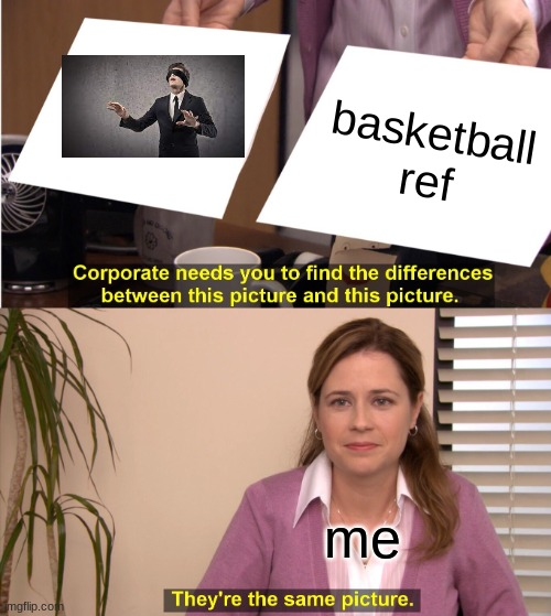 They're The Same Picture |  basketball ref; me | image tagged in memes,they're the same picture | made w/ Imgflip meme maker
