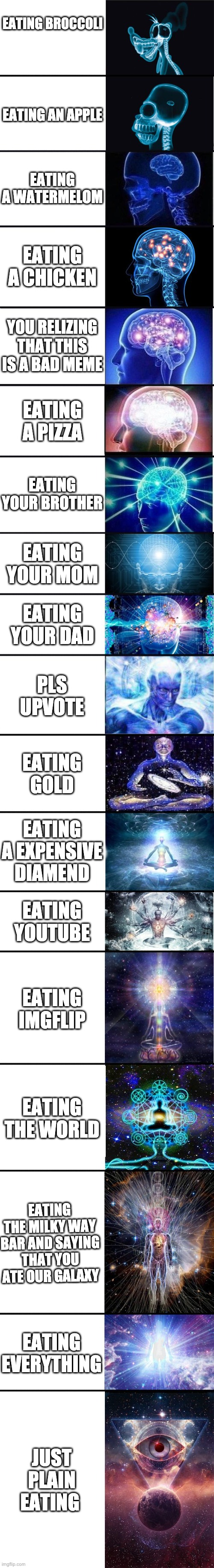expanding brain: 9001 |  EATING BROCCOLI; EATING AN APPLE; EATING A WATERMELOM; EATING A CHICKEN; YOU RELIZING THAT THIS IS A BAD MEME; EATING A PIZZA; EATING YOUR BROTHER; EATING YOUR MOM; EATING YOUR DAD; PLS UPVOTE; EATING GOLD; EATING A EXPENSIVE DIAMEND; EATING YOUTUBE; EATING IMGFLIP; EATING THE WORLD; EATING THE MILKY WAY BAR AND SAYING THAT YOU ATE OUR GALAXY; EATING EVERYTHING; JUST PLAIN EATING | image tagged in expanding brain 9001 | made w/ Imgflip meme maker