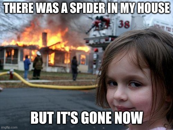 Made Apr 12 2021 |  THERE WAS A SPIDER IN MY HOUSE; BUT IT'S GONE NOW | image tagged in memes,disaster girl | made w/ Imgflip meme maker