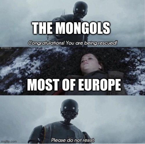 Mine |  THE MONGOLS; MOST OF EUROPE | image tagged in congratulations you are being rescued please do not resist | made w/ Imgflip meme maker