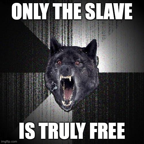 Only the slave... Is truly free.