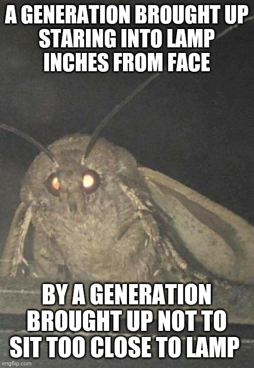 Generation Lamp |  A GENERATION BROUGHT UP STARING INTO LAMP INCHES FROM FACE; BY A GENERATION BROUGHT UP NOT TO SIT TOO CLOSE TO LAMP | image tagged in moth,lamp,flashlight,tv,they live,first world problems | made w/ Imgflip meme maker
