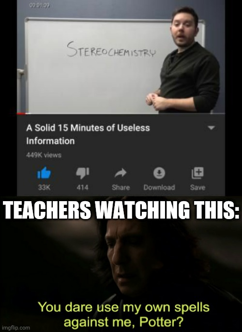 Who would watch this video? |  TEACHERS WATCHING THIS: | image tagged in you dare use my own spells against me,you dare oppose me mortal,funny,school,youtube,useless stuff | made w/ Imgflip meme maker