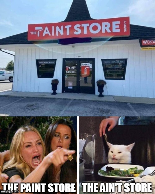 THE PAINT STORE; THE AIN'T STORE | image tagged in smudge the cat,memes,signs | made w/ Imgflip meme maker