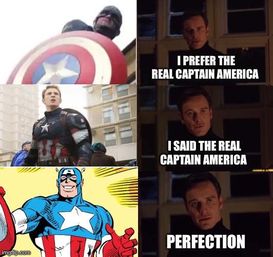 The REAL Captain America |  I PREFER THE REAL CAPTAIN AMERICA; I SAID THE REAL CAPTAIN AMERICA; PERFECTION | image tagged in marvel comics,captain america,disney plus,perfection | made w/ Imgflip meme maker