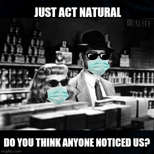 Act Natural |  JUST ACT NATURAL; DO YOU THINK ANYONE NOTICED US? | image tagged in face mask,mask,covid 19,funny memes,old movies,double indemnity | made w/ Imgflip meme maker